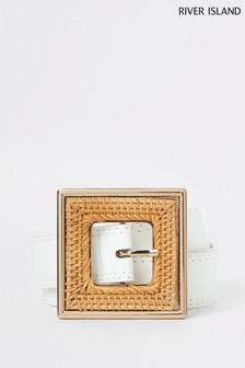 River Island White Square Buckle Waist Belt
