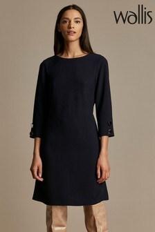 Wallis Ink Button Detail Crepe Dress