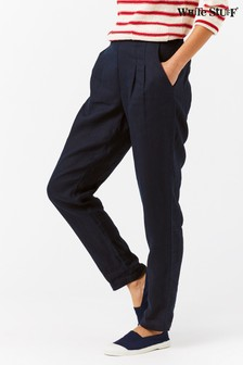 White Stuff Navy Maison Linen Trousers