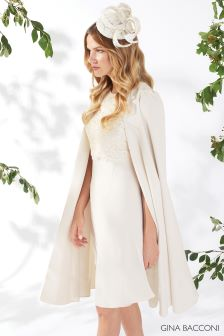 Gina Bacconi Cream Jolene Crepe And Lace Dress With Cape