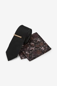 Textured Tie With Floral Pocket Square And Tie Clip Set
