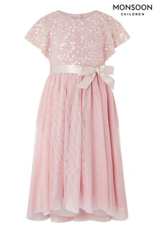 Monsoon Pink Truth Cape Sequin Dress