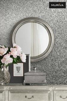 Muriva Silver Oriah Glitter Wallpaper