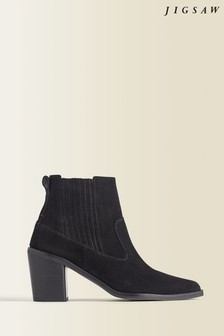 Jigsaw Black Adrienne Suede Ankle Boots