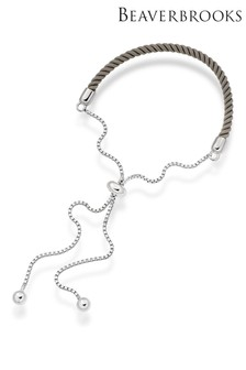 Beaverbrooks Sterling Silver Grey Friendship Slider Bracelet