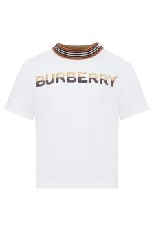 Burberry Kids Baby Boys White Cotton T-Shirt