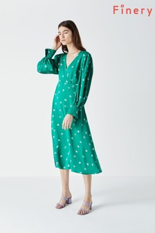Finery Green Shiloh Printed Long Sleeve Dress