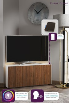 Frank Olsen Smart LED White and Walnut Corner TV Unit