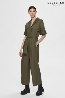 Selected Femme Khaki Utility Jumpsuit