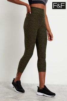 Spodnie do jogi w kolorze khaki z marszczeniami F&F
