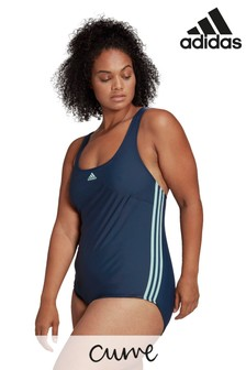 adidas Curve Fit 3 Stripe Swimsuit