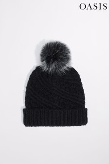 Oasis Black Carrie Cable Pom Beanie