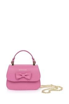 Girls Fuchsia Leather Bow Bag
