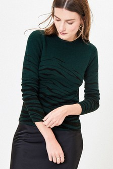 Oasis Green Zoe Zebra Stripe Jumper