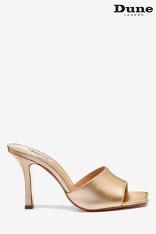 Dune London Mantra Gold Leather Square Toe Heeled Mule Sandals