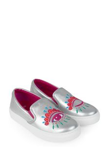 Girls Silver Leather Shoes
