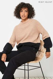 Mint Velvet Camel Blocked Stripe Jumper