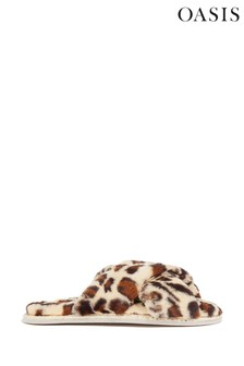 Oasis Animal Fluffy Open Toe Slippers