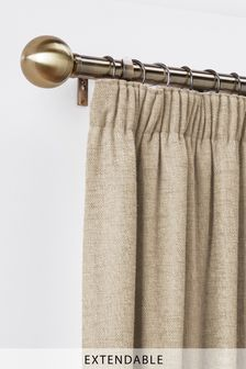 Antiqued Brass Extendable Ball 35mm Curtain Pole