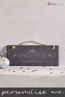 Personalised Christmas Slate Sign by Loveabode