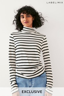 Next/Mix Stripe Jersey Polo Neck Top