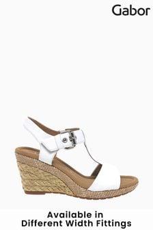 Gabor Karen White Leather Wedge Sandals