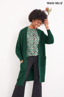 White Stuff Green Betty Longline Rib Cardigan
