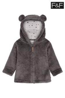 F&F Grey Cuddle Faux Fur Jacket