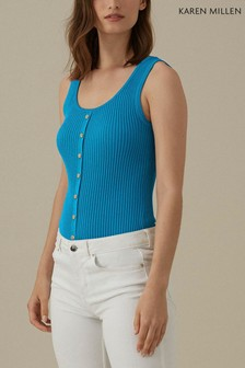 Karen Millen Blue Popper Front Rib Knit Top