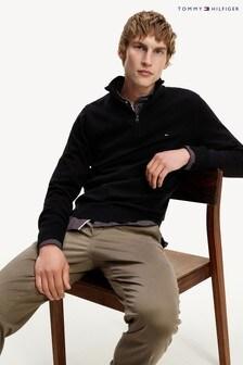 Tommy Hilfiger Black Organic Cotton Blend Zip Mock Sweater