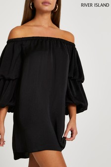 River Island Black Double Puff Bardot Mini Dress