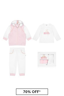 Baby Girls Pink Cotton Tracksuit Three Piece Gift Set