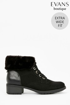 Evans Extra Wide Fit Black Lace-Up Faux Fur Cuff Boots