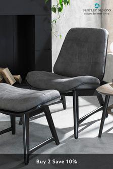 Vintage Weathered Oak Footstool in Dark Grey Fabric by Bentley Designs