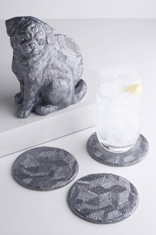 Set of 4 Dog Coasters & Holder
