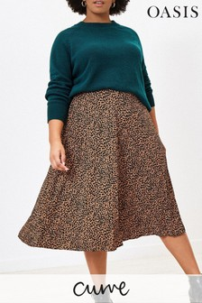 Oasis Natural Curve Animal Spot Pleated Skirt