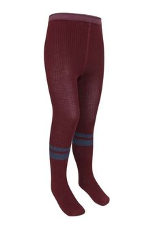 Girls Red Cotton Ribbed Tights