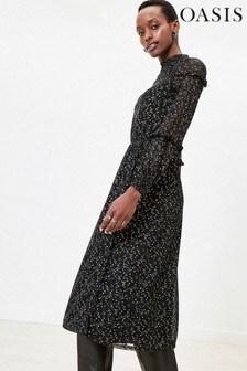 Oasis Black Foil Star Mesh Midi Dress