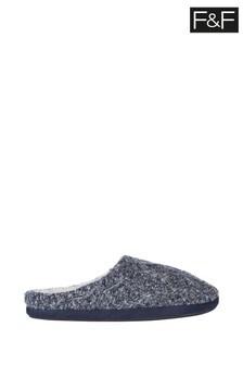 F&F Grey Cosy Knit Mules
