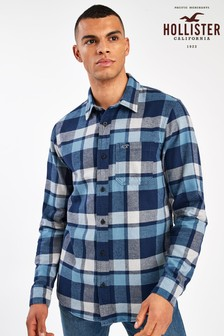 Chemise en flanelle à carreaux Hollister bleue