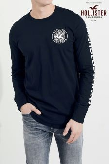 Hollister Navy Long Sleeve Logo Tee