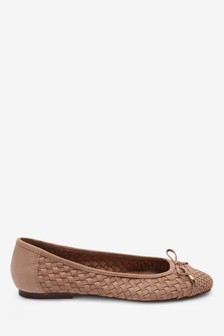 Leather Weave Ballerina Shoes