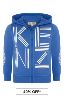Boys Blue Cotton Logo Print Zip Up Top