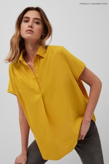 French Connection Yellow Cele Sleeveless Rhodes Shirt