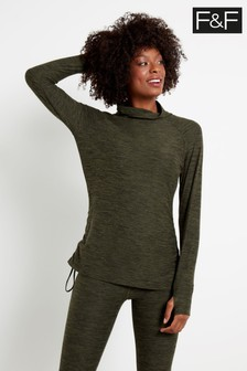 F&F Khaki Yoga Rouched Layering Jacket