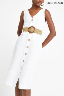 River Island White Linen Waisted Dress