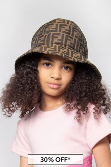 Fendi Kids Kids Brown Cotton Hat