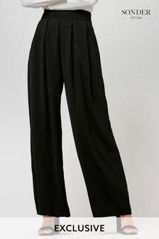 Sonder Black Wide Leg Belted Trousers