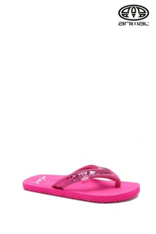 Animal Pink Swish Slim Girls Flip Flops