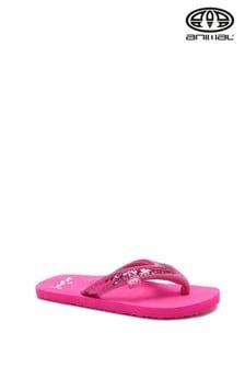 Animal Pink Swish Slim Girls Flip Flops